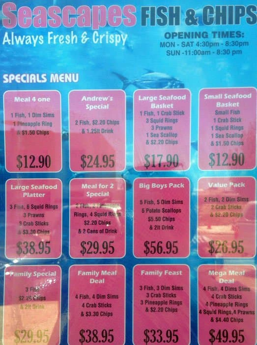 Seascapes fish chips menu urbanspoon zomato for Two fish menu