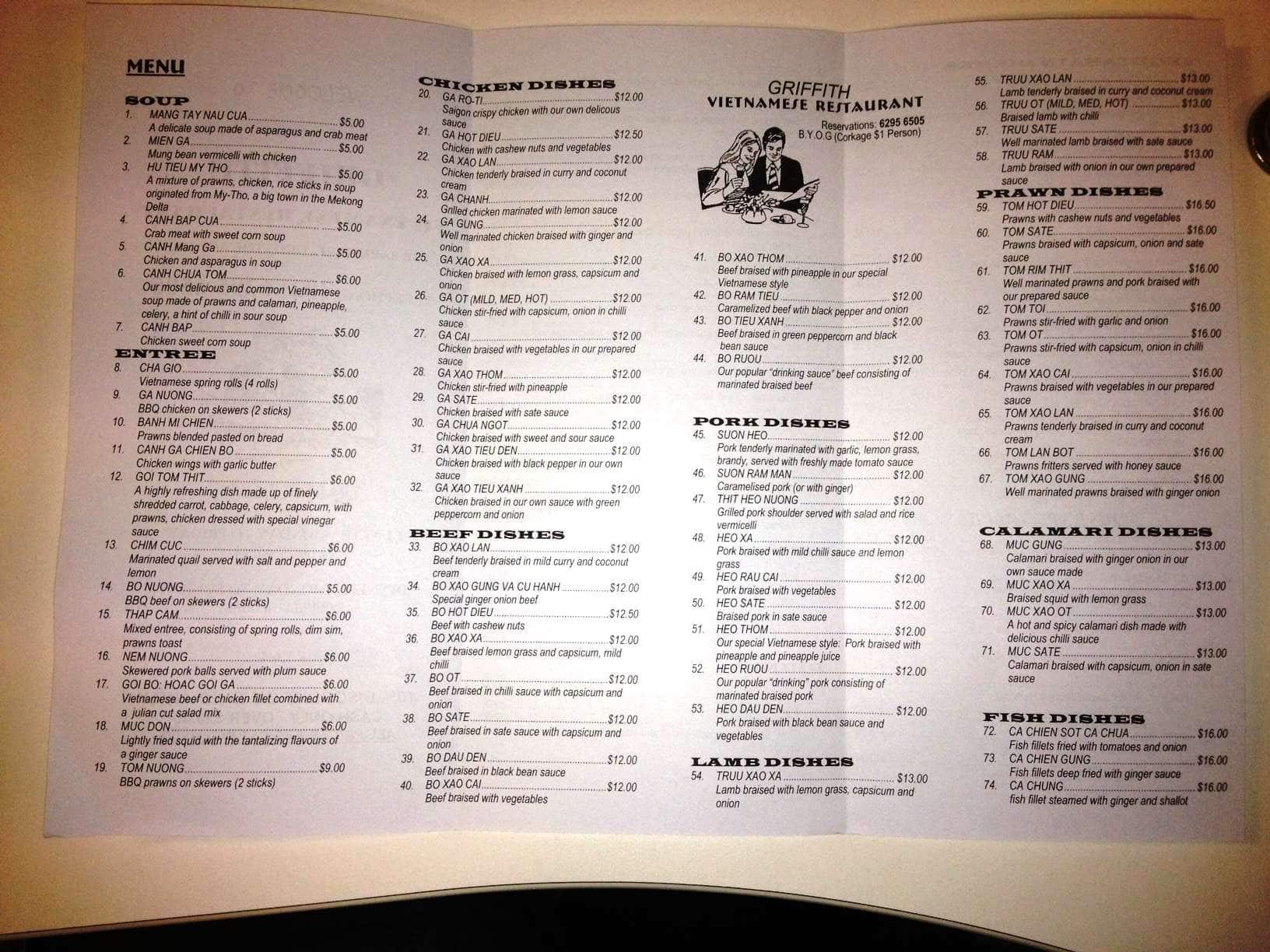 Griffith Vietnamese Restaurant Menu