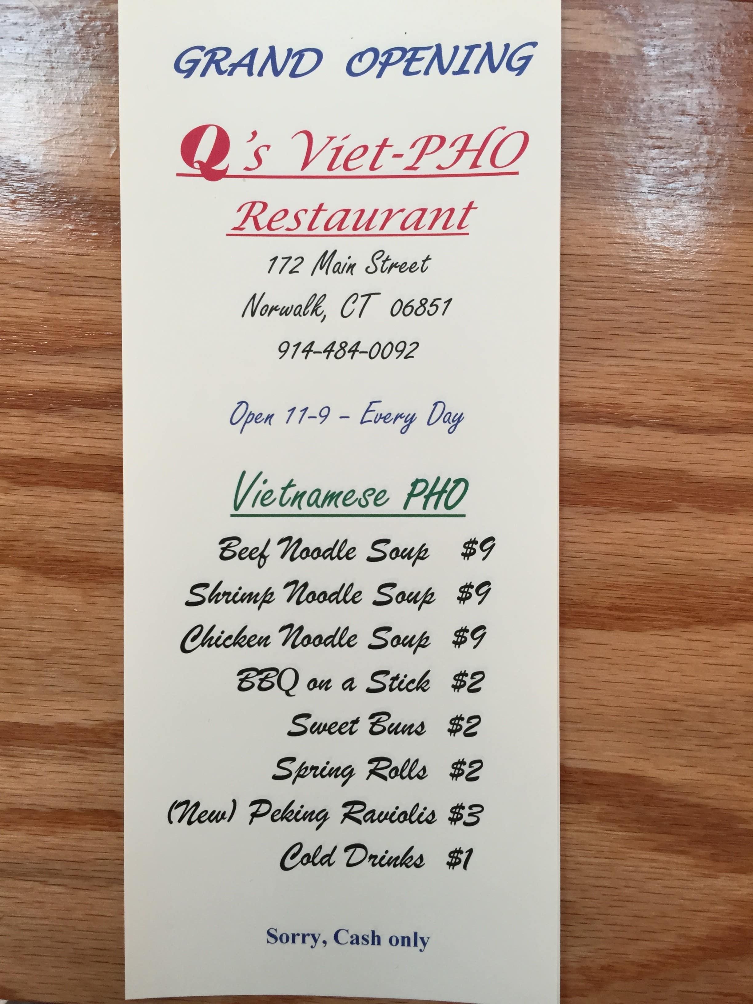 Q S Viet Pho Restaurant Menu Urbanspoon Zomato