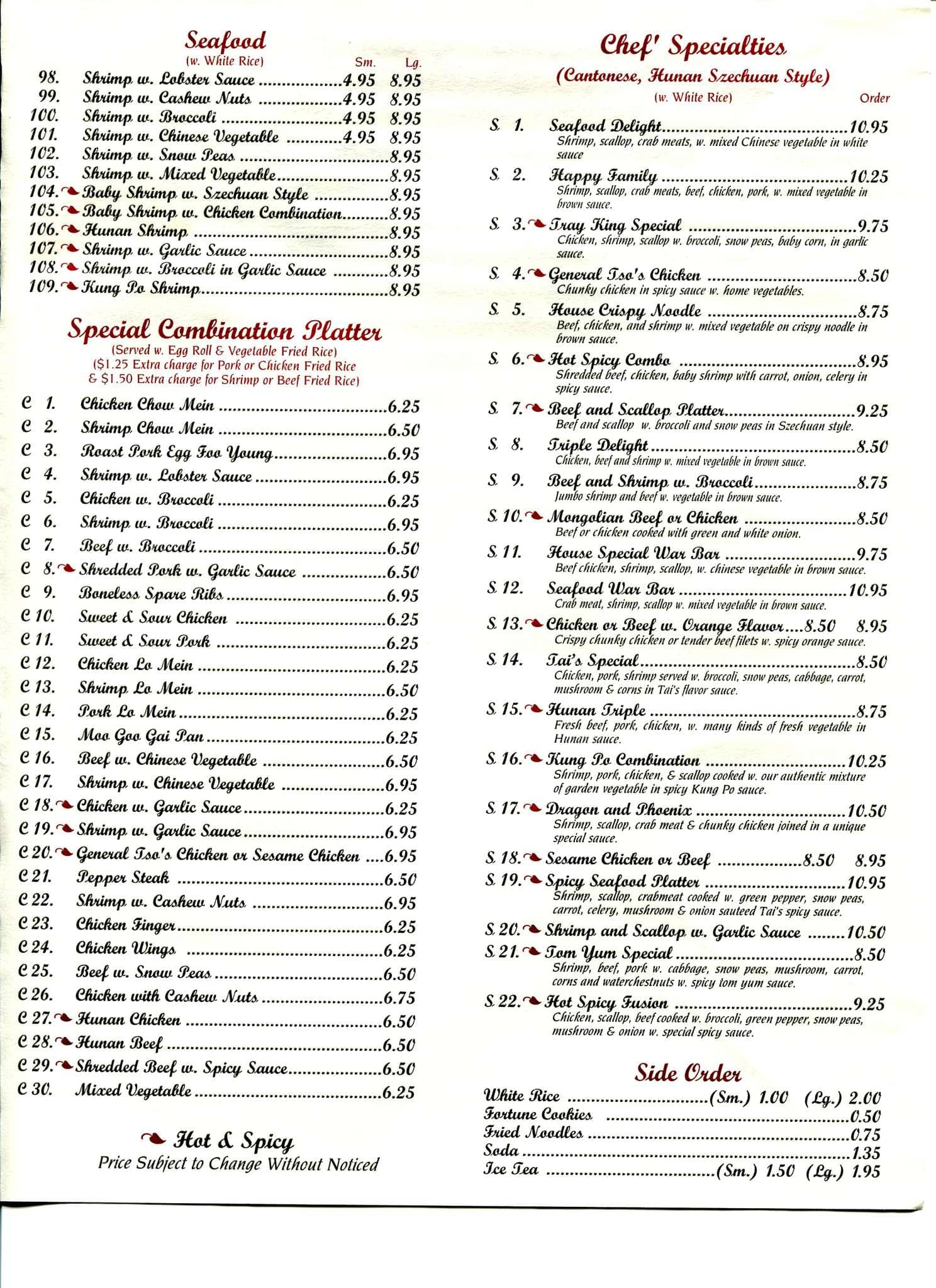 Scanned Menu For Tray King House