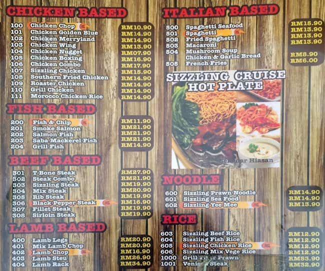 Mr Steak House Menu