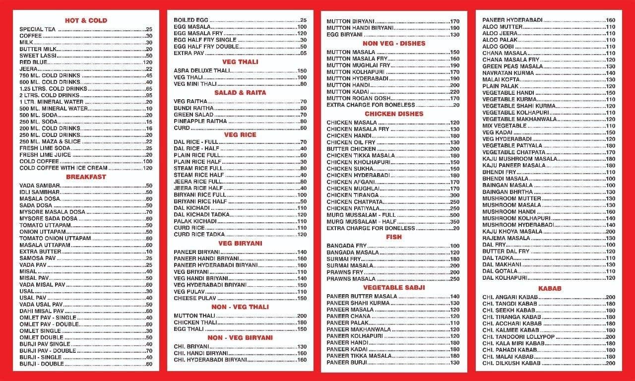 New Asra Restaurant menu, Menu restauracji New Asra Restaurant