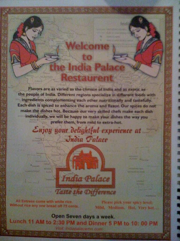 India Palace Menu, Menu for India Palace, Woodbury, Twin