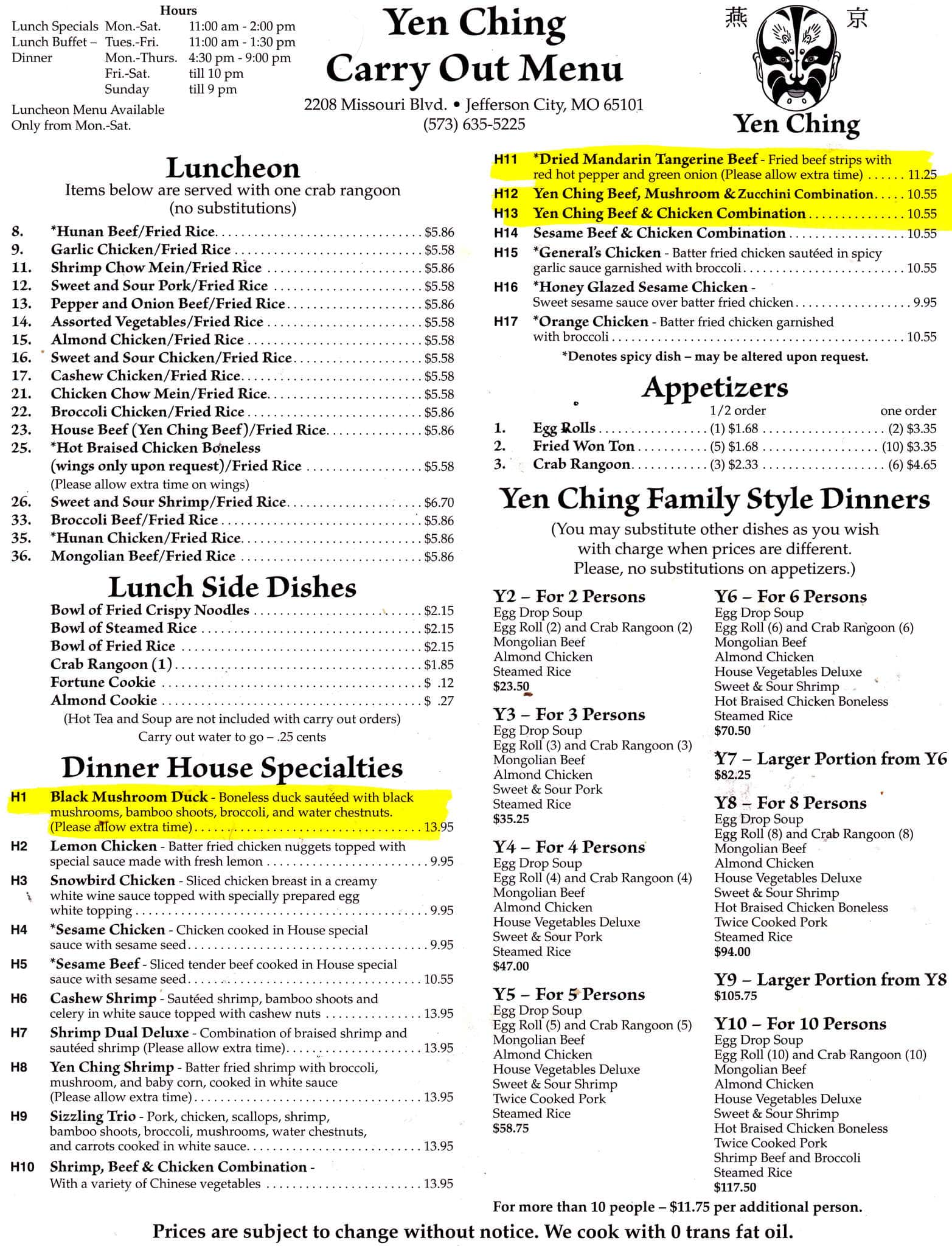 Yen Ching Restaurant Menu, Menu for Yen Ching Restaurant, Jefferson ...