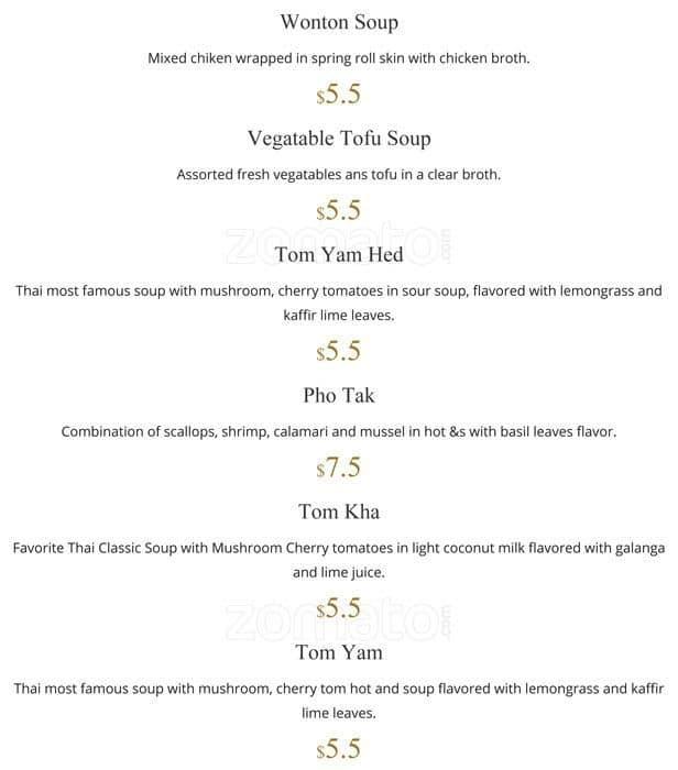 Thai Kitchen Chester: Thai Koon Kitchen Menu, Menu For Thai Koon Kitchen, West