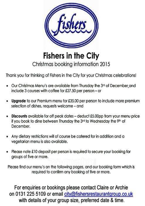 Fishers In The City Restaurant Edinburgh