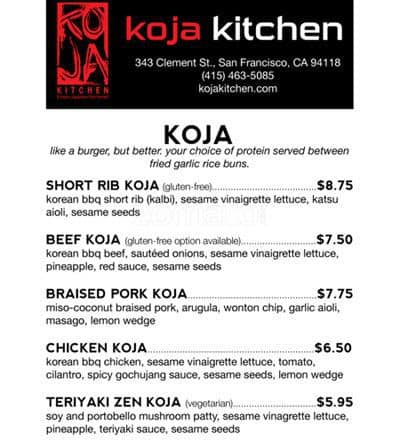 KoJa Kitchen Menu Menu for KoJa Kitchen Berkeley Berkeley