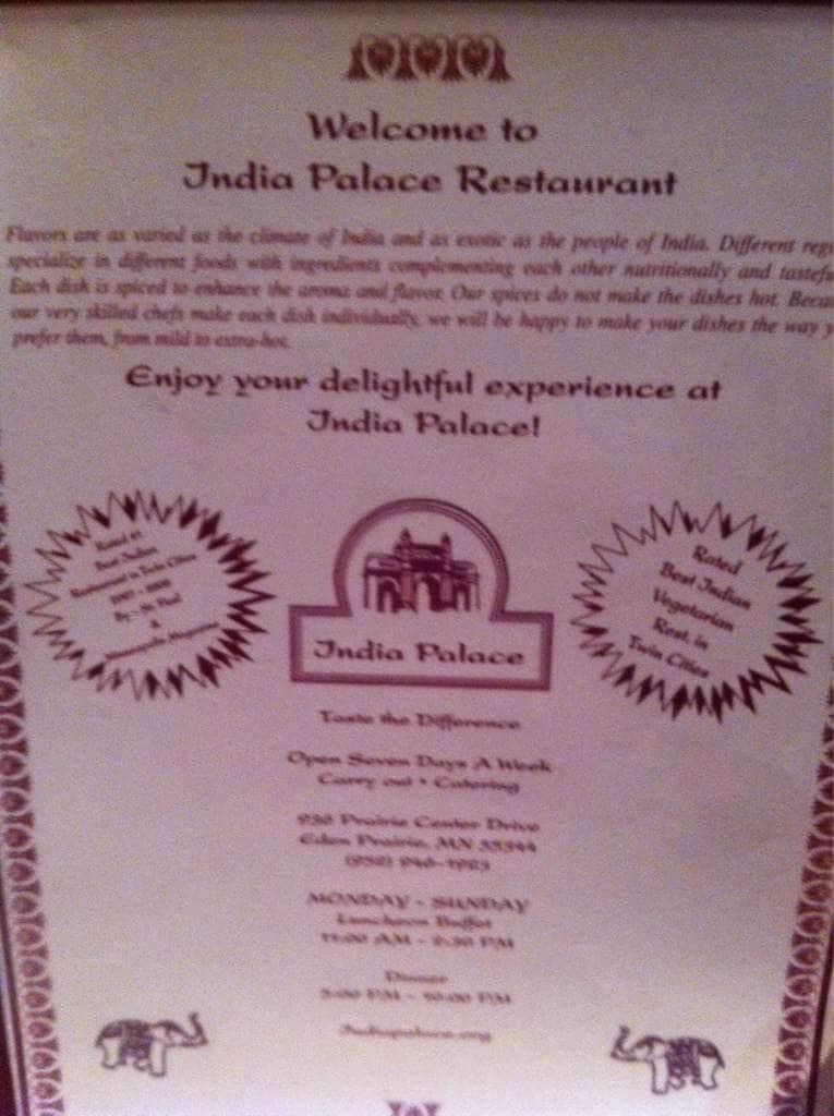 India Palace Menu Menu For India Palace Eden Prairie Twin Cities