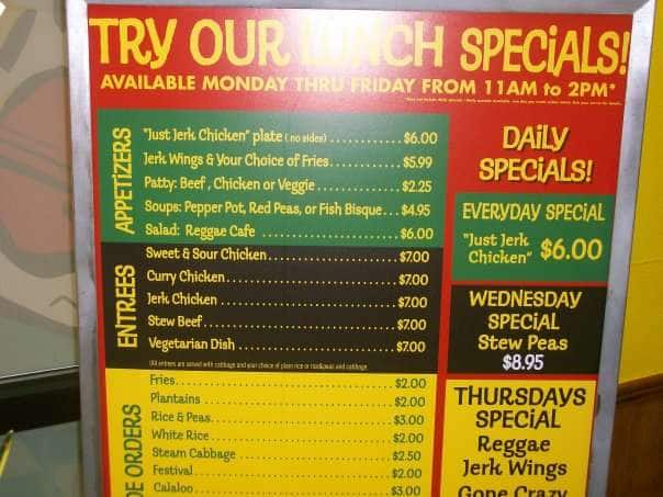 Madison : Reggae cafe menu prices