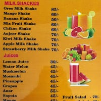 Juice Shack Lingampally Menu