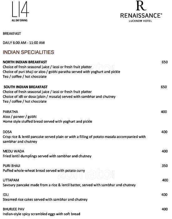 L 14 Renaissance Lucknow Hotel Buffet Price