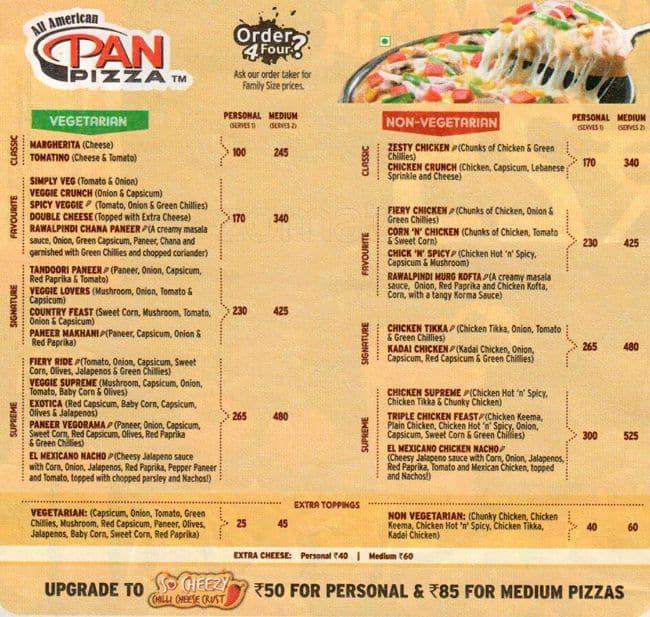 pizza hut india menu with prices pdf