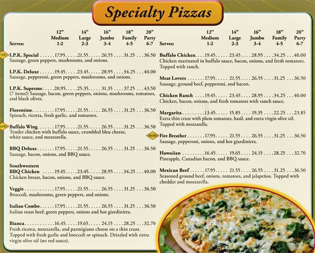 Scanned Menu For Italian Pizza Kitchen