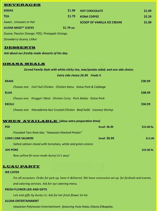 menu at aloha kitchen, 1151 harry wurzbach rd - restaurant prices