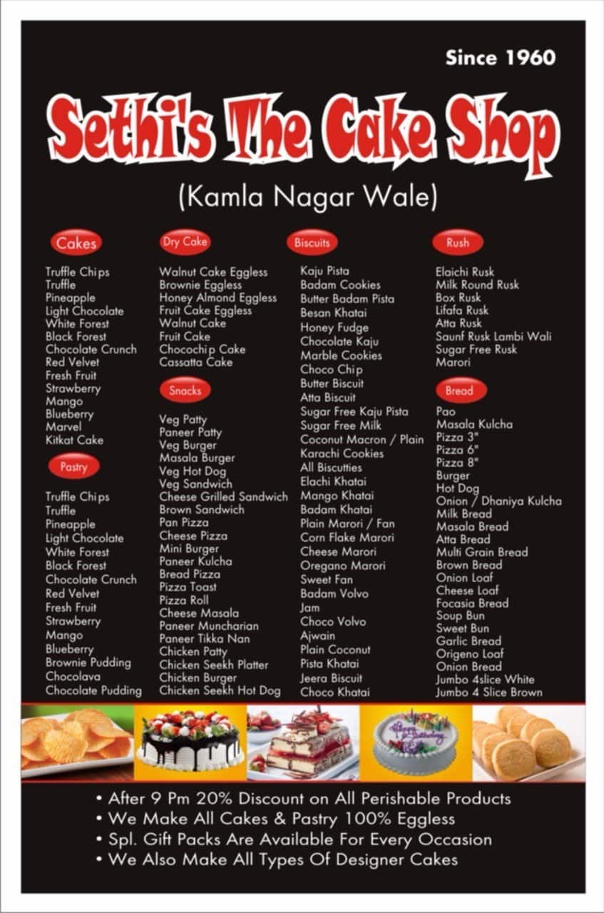 Sethis The Cake Shop Rajouri Garden Menu
