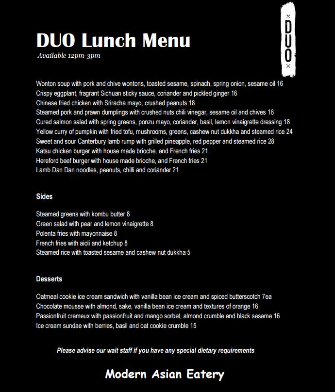 DUO Dining Room Bar Menu