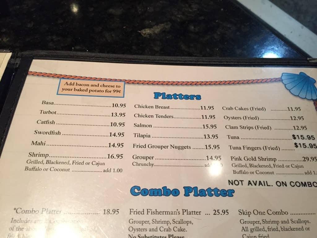 Skip One Beach Seafood Restaurant Fort Myers Menu