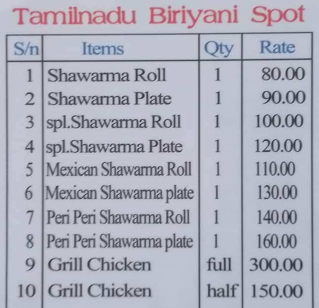 Tamilnadu Biriyani Spot Menu, Menu for Tamilnadu Biriyani