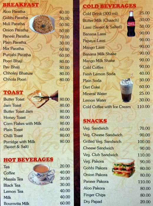Noor Mahal Restaurant Menu