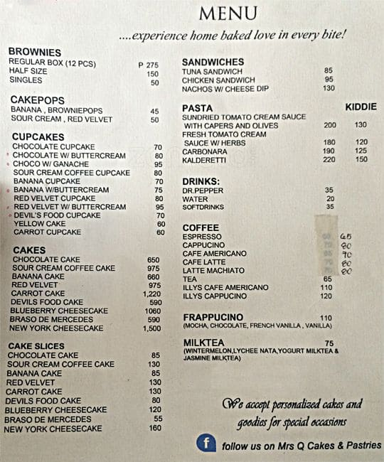 Mrs. Q\u0027s Cakes and Pastries Menu , Zomato Philippines