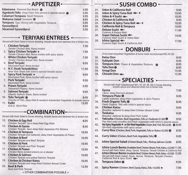 Ichiro Sushi And Teriyaki Menu UrbanspoonZomato - Magnolia table restaurant menu