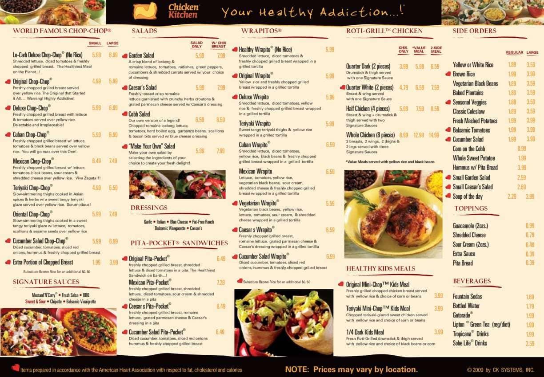 Menu at Chicken Kitchen restaurant, Miami, S Dixie Hwy