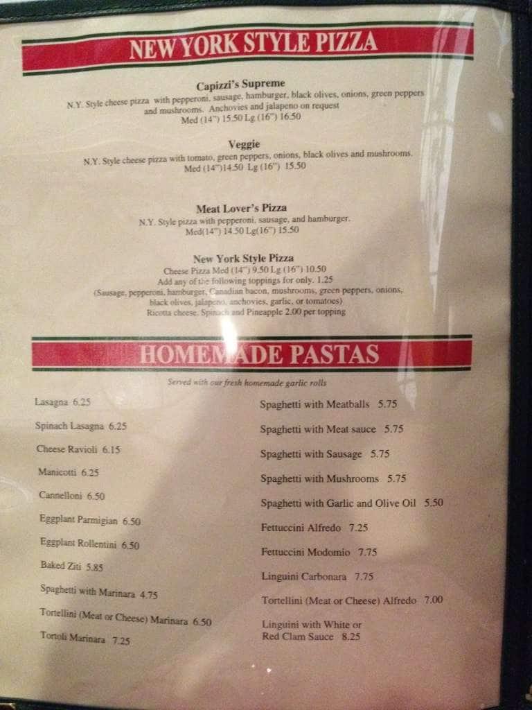 Menu At Capizzis Italian Kitchen Restaurant Paris