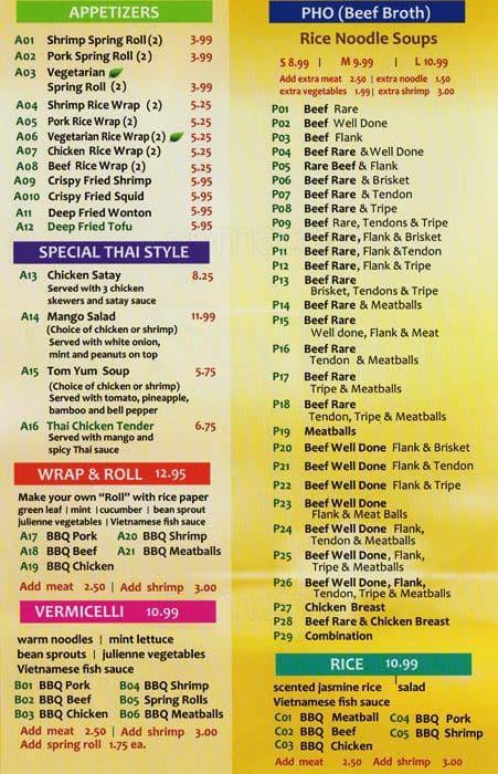 Menu At Viet Thai Restaurant Ottawa