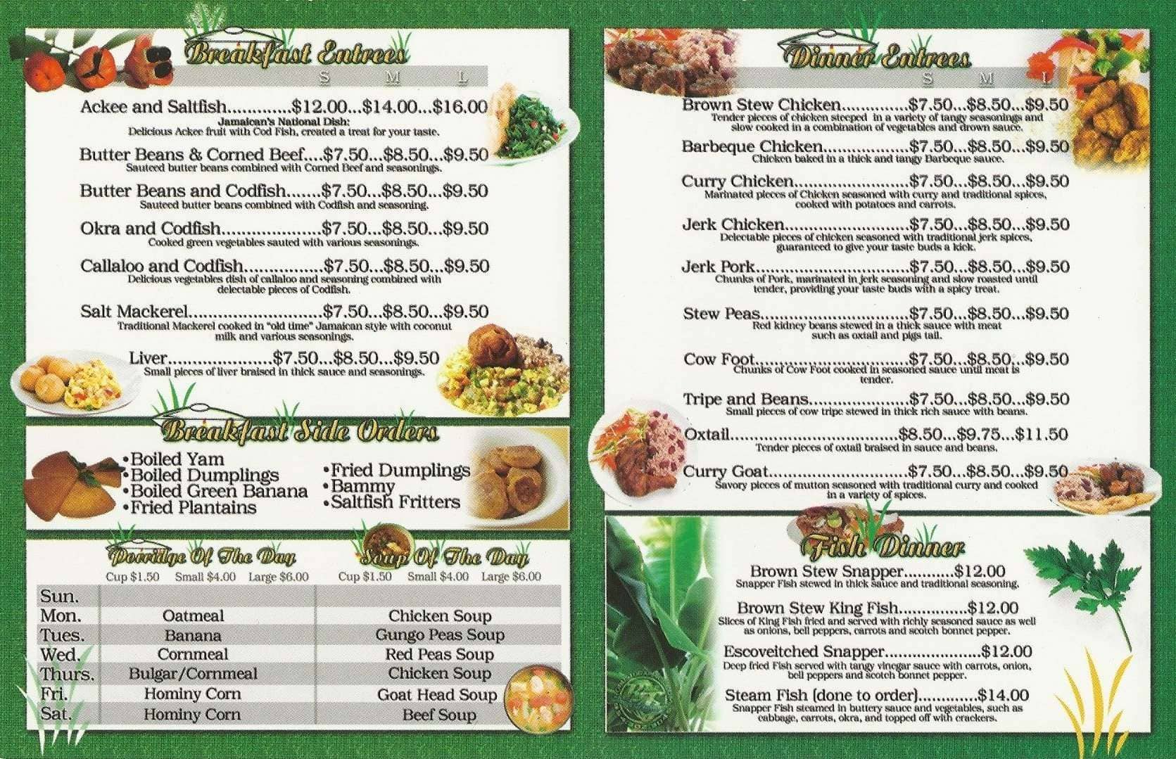 The Dutch Pot Jamaican Restaurant North Lauderdale Menu