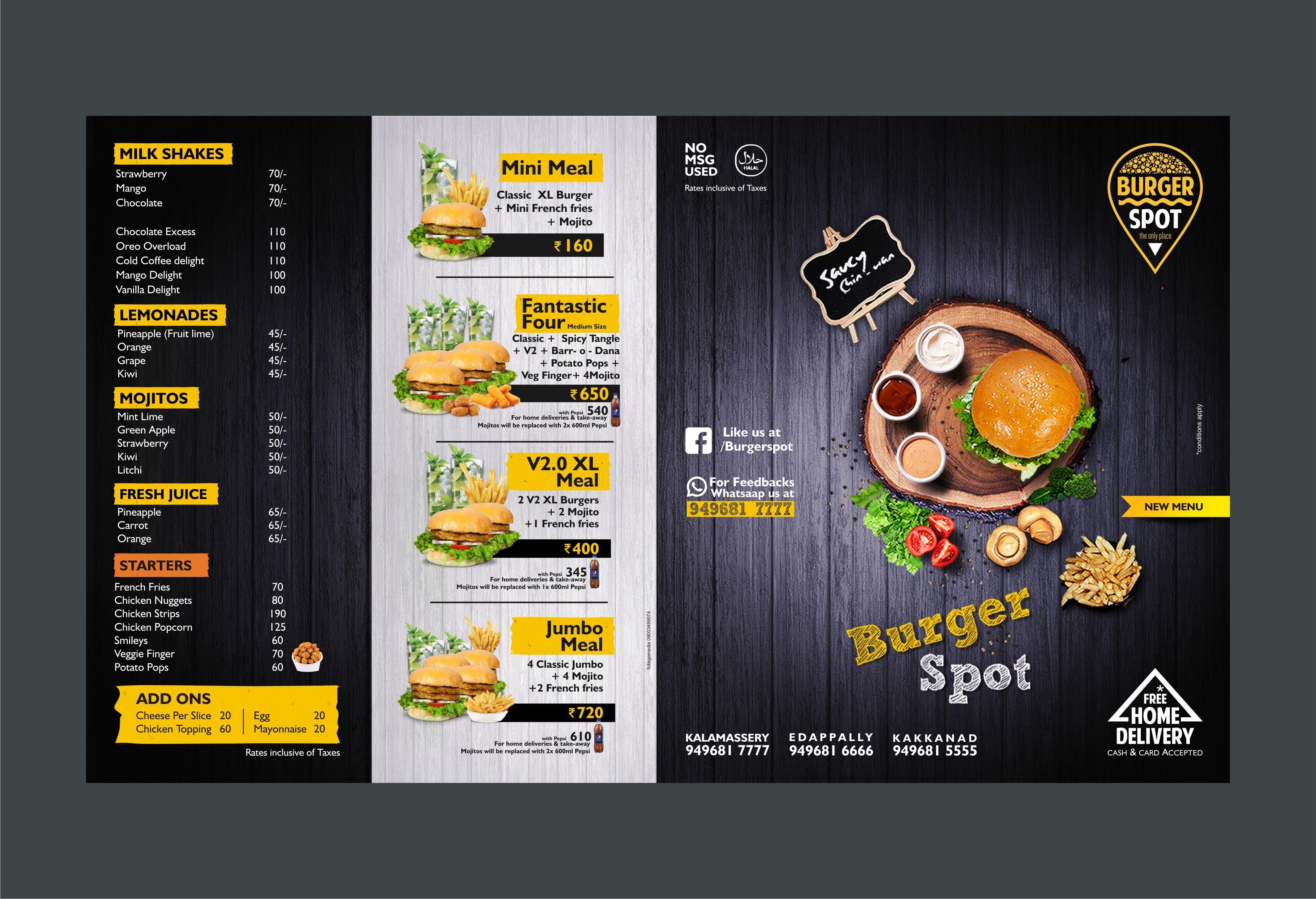 Burger Spot Menu Menu for Burger Spot Kakkanad Kochi Zomato – Menu