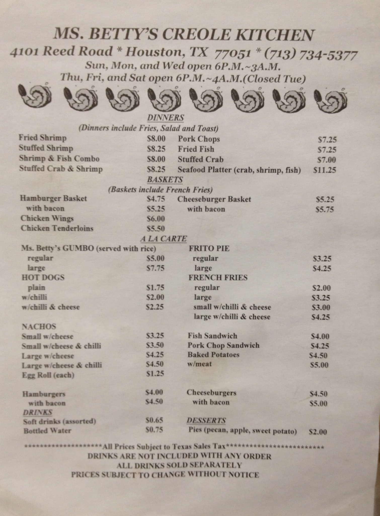 Bettys Kitchen Menu Prices