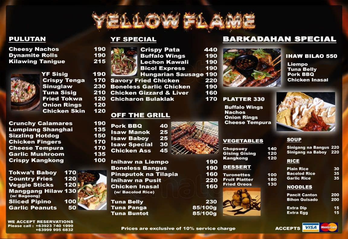 Yellow flame bar grill menu zomato philippines for The food bar zomato