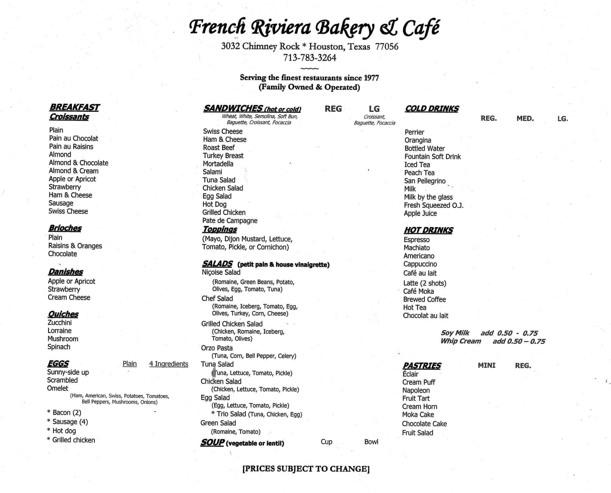 french riviera bakery & cafe, galleria, houston - urbanspoon/zomato