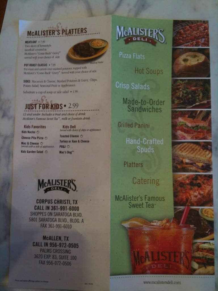 This is a picture of Canny Mcalisters Deli Printable Menu