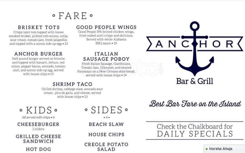 Anchor Bar And Grill Orange Beach Menu