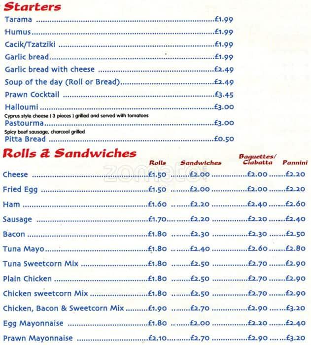 Fiesta menu menu for fiesta borehamwood london zomato uk for Divan menu borehamwood