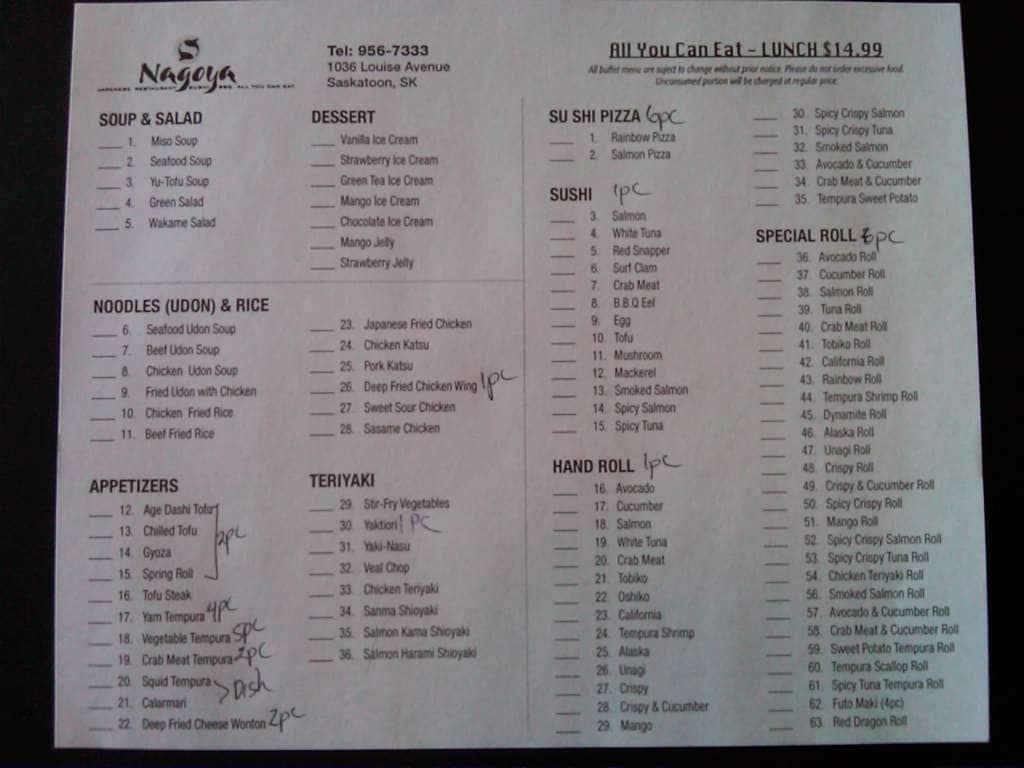 Sushi date menu menu for sushi date 8th street for Asian cuisine saskatoon menu