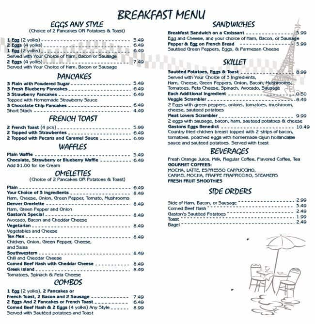 Cafe Gaston, Orland Park Menu