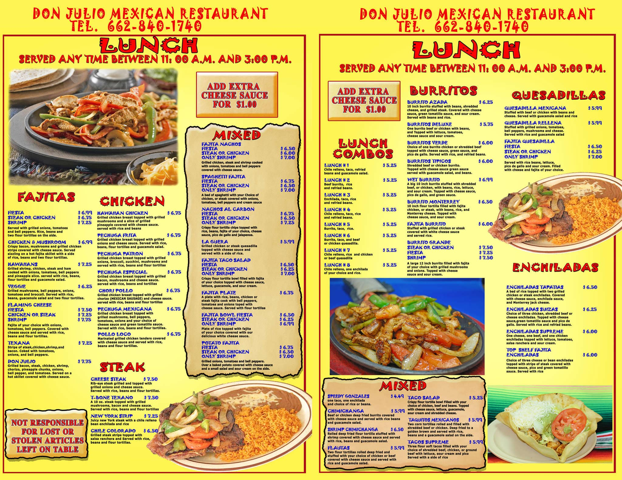Cafe Rio Restaurant Menu