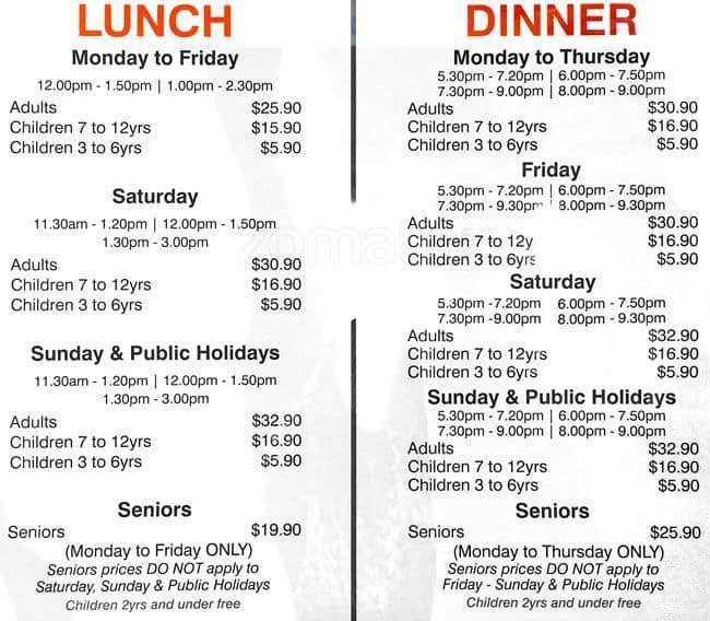 Casino nb buffet menu