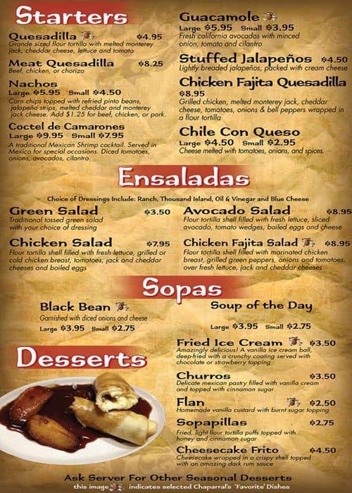 Chaparral Mexican Grill Menu Menu for Chaparral Mexican Grill
