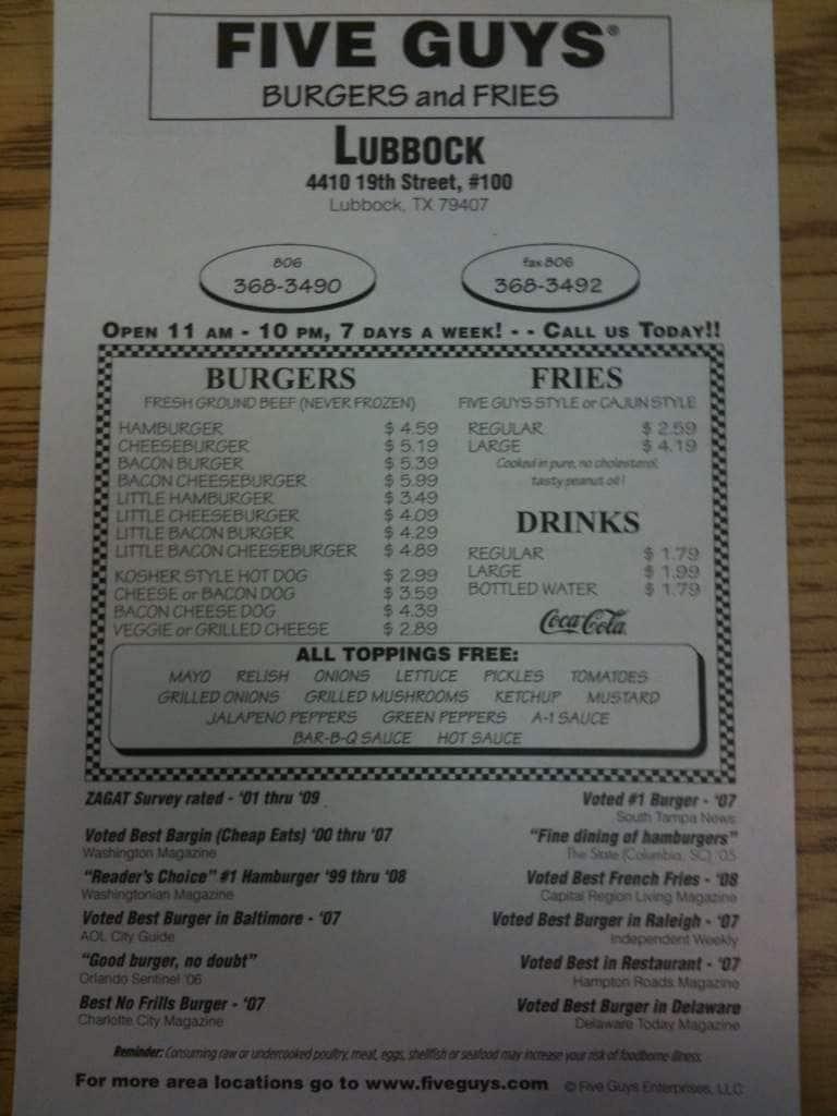 Five Guys Burgers And Fries, Lubbock Menu