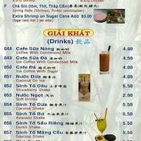 Scanned menu for New Pho Bo Ga La