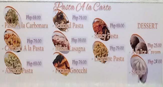 A La Carte Menu, Menu for A La Carte, Tipolo, Mandaue City