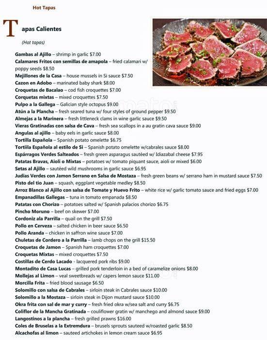 Menu at si tapas restaurant dallas allen st for Tapas menu template