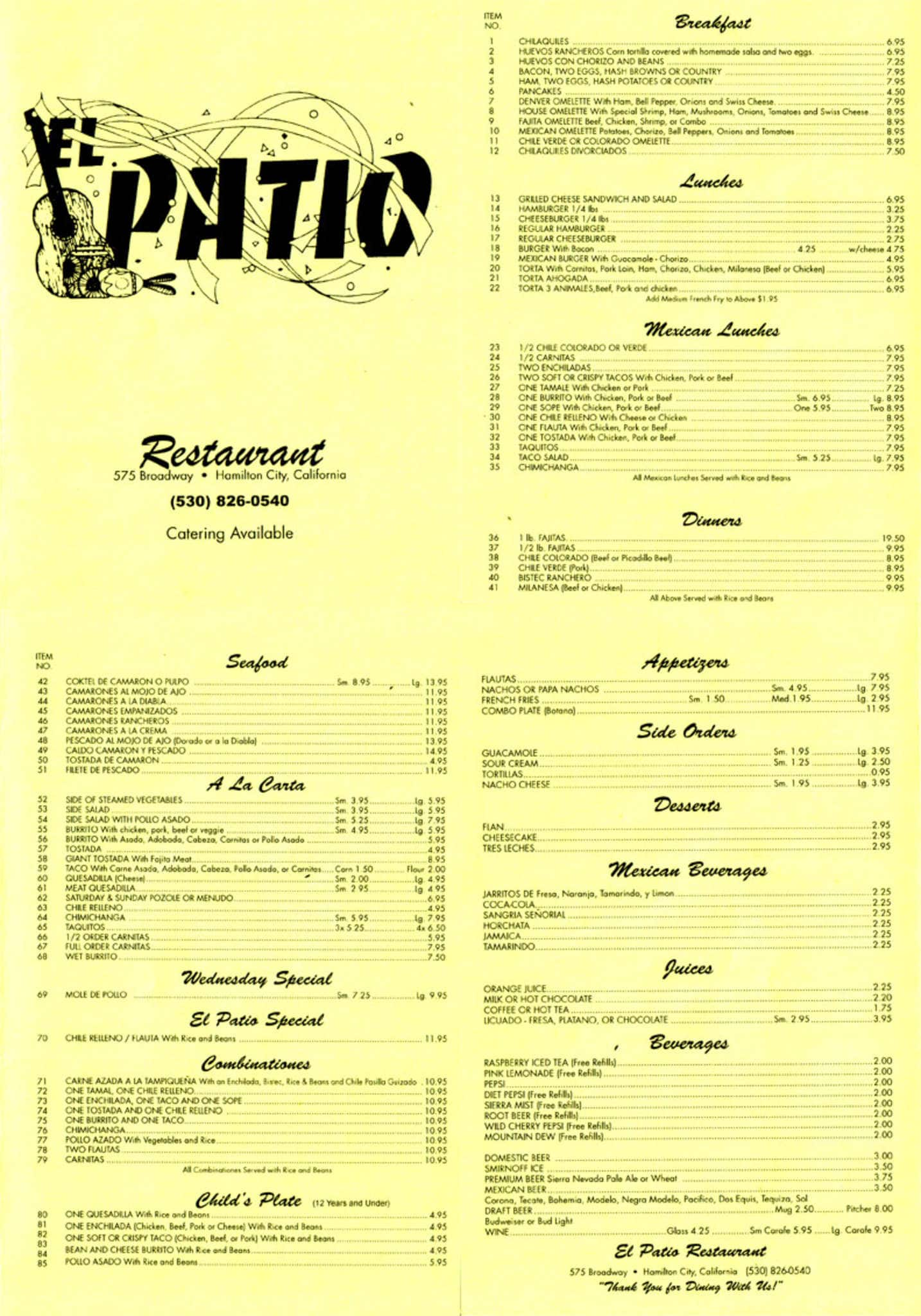 Scanned Menu For El Patio Restaurant