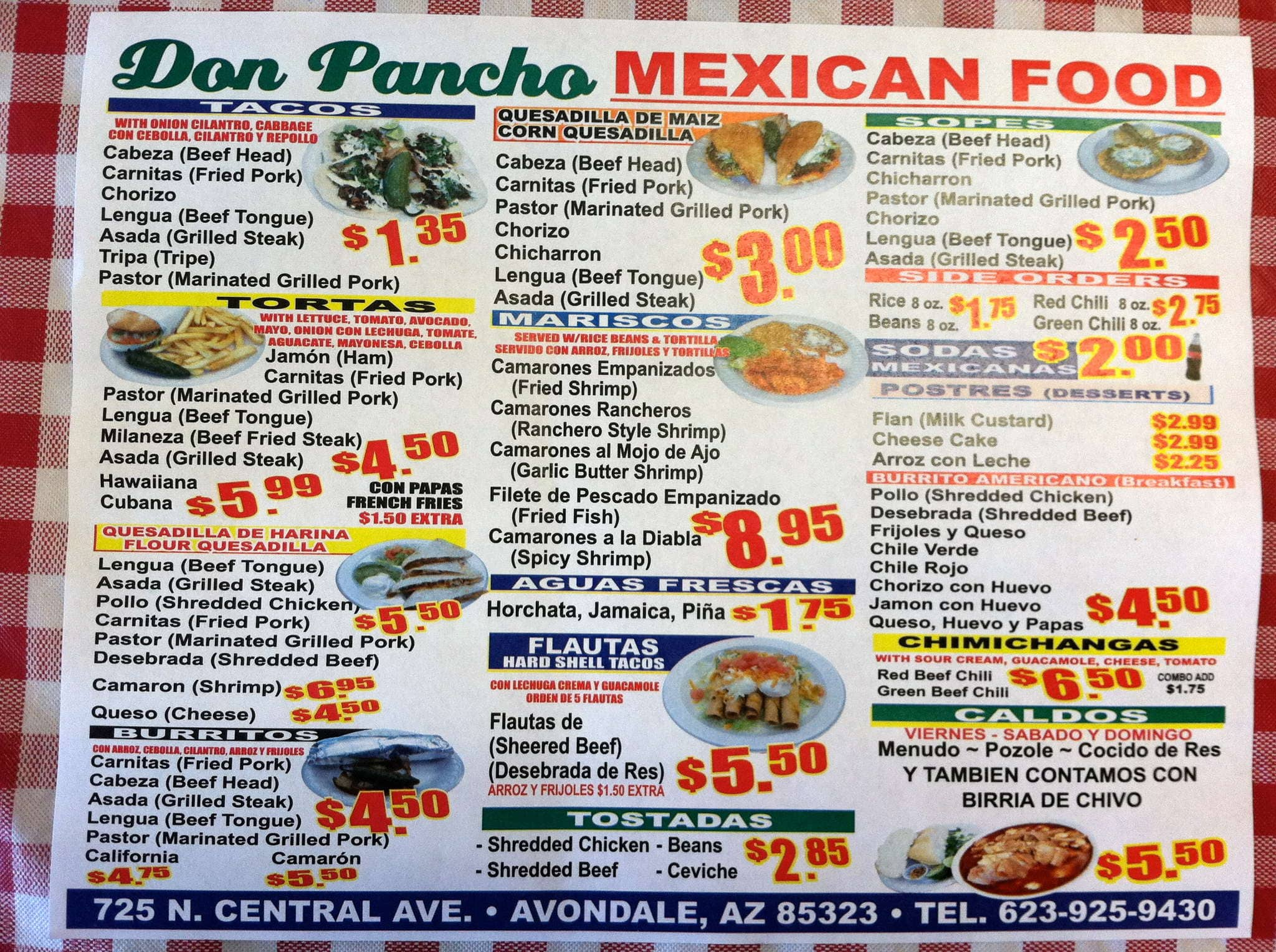 Don Pancho Mexican Food Menu Menu For Don Pancho Mexican Food