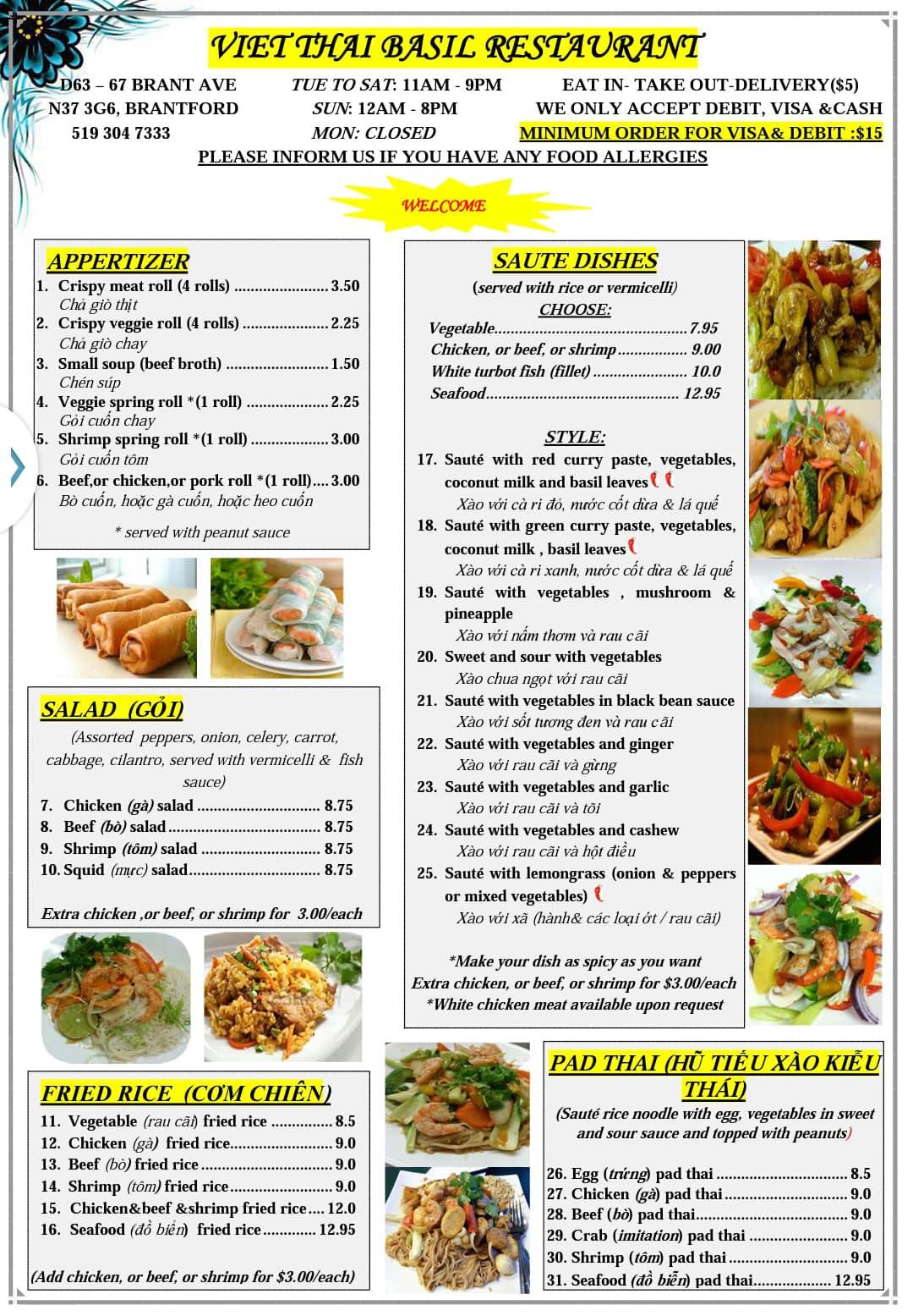 Menu For Thai Basil Restaurant