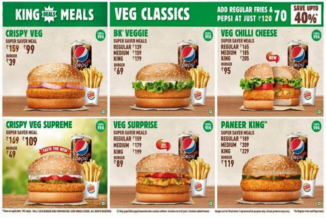 Burger King Menu For Nedumbassery Kochi