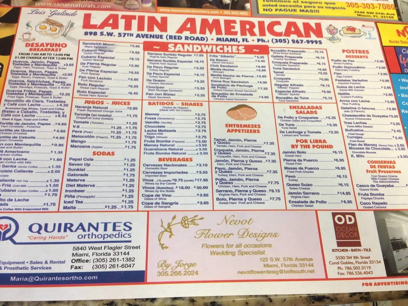 Latin Cafeteria Restaurant Menu